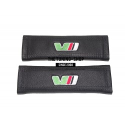 SEAT BELT HARNESS COVERS PADS BLACK LEATHER EMBROIDERY TDI RED STITCHING