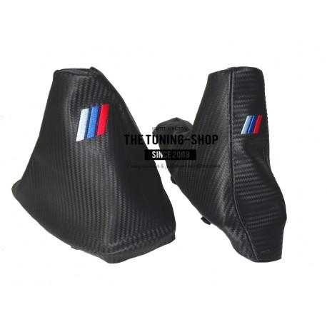 FOR BMW E90 E91 E92 E93 2005-13 GEAR HANDBRAKE GAITER LEATHER M3 EMBROIDERY  WITH PLASTIC FRAME