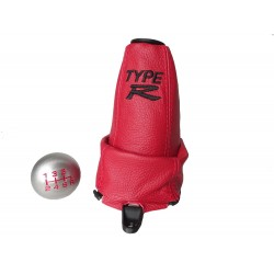 "FOR HONDA CIVIC FN2 06-12 GEAR GAITER RED LEATHER with plastic frame and top ring and Metal Gear Knob ""Type R"" Embroidery"