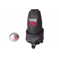 "FOR HONDA CIVIC FN2 06-12 5 Speed GEAR GAITER LEATHER with plastic frame and top ring and Metal Gear Knob ""Type R"""