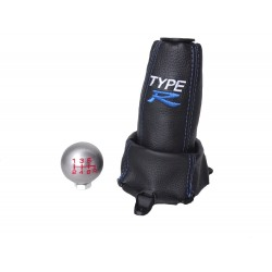 "FOR HONDA CIVIC FN2 06-12 5 Speed GEAR GAITER LEATHER with plastic frame and top ring and Metal Gear Knob Blue ""Type R"""
