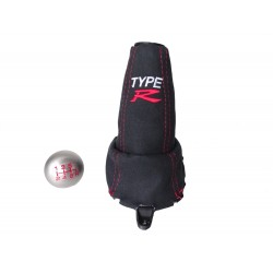 """FOR  HONDA CIVIC FN2 06-12 5 Speed GEAR GAITER Suede with plastic frame and top ring and Metal Gear Knob """"Type R"""""""