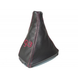FOR SAAB 9-3 SS 2003+ GEAR GAITER LEATHER WITH PLASTIC FRAME RED STITCHING