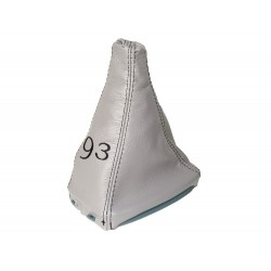 FOR SAAB 9-3 SS 2003+ GEAR GAITER GREY LEATHER WITH PLASTIC FRAME