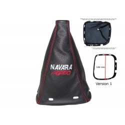 FOR NISSAN NAVARA D40 2005-2009 GEAR GAITER BLACK LEATHER WITH FRAME & EMBROIDERY