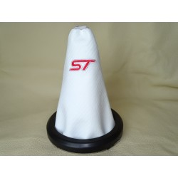 "FOR FORD FIESTA 2002-2008 GEAR GAITER LEATHER WITH ORIGINAL FORD PLASTIC FRAME ""ST"" EMBROIDERY"