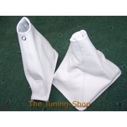 NISSAN SKYLINE R32 GEAR+HANDBRAKE GAITERS BOOTS WHITE LEATHER