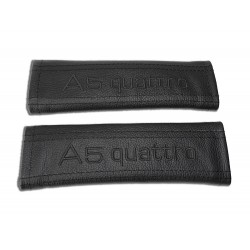 "SEAT BELT HARNESS COVERS PADS BLACK LEATHER EMBROIDERY  ""A5 quattro"" WHITE EMBROIDERY"