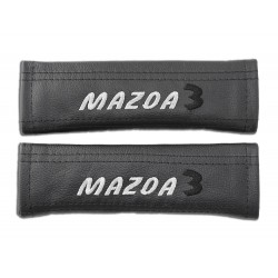 "2 X SEAT BELT HARNESS COVERS PADS LEATHER ""MAZDA 3"" EMBROIDERY FOR MAZDA"