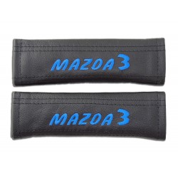 "2 X SEAT BELT HARNESS COVERS PADS LEATHER ""MAZDA 3"" RED EMBROIDERY FOR MAZDA"