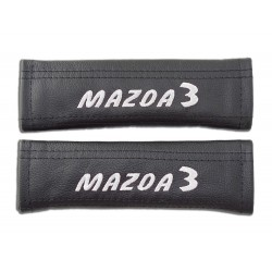 "2 X SEAT BELT HARNESS COVERS PADS LEATHER ""MAZDA 3"" BLUE EMBROIDERY FOR MAZDA"