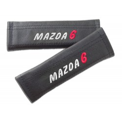 """2 X SEAT BELT HARNESS COVERS PADS LEATHER """"MAZDA 3"""" EMBROIDERY FOR MAZDA"""