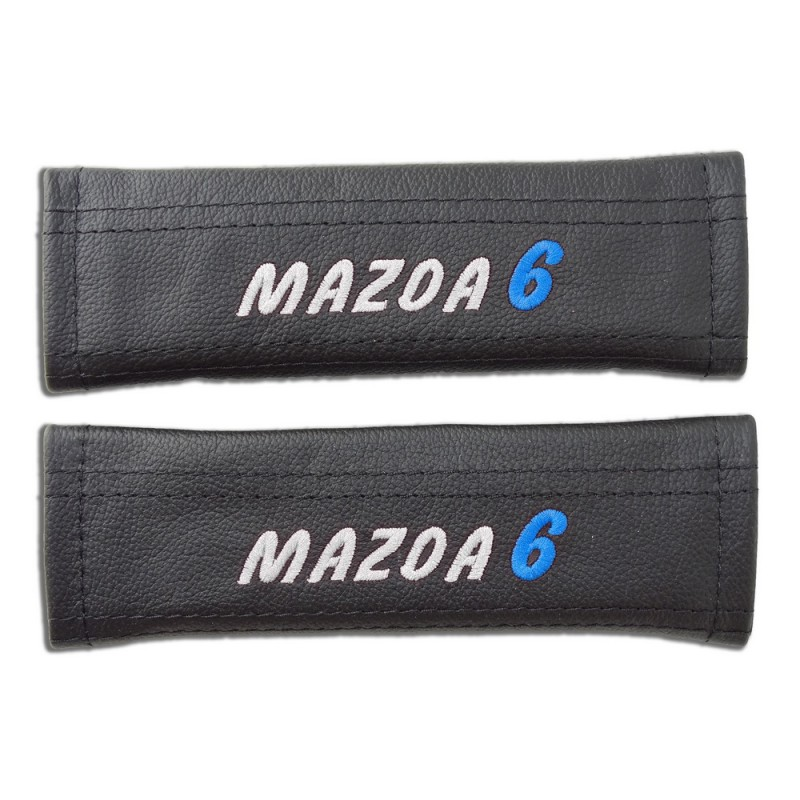 2 X Seat Belt Harness Covers Pads Leather  U0026quot Mazda 6 U0026quot  Blue