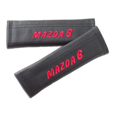 """2 X SEAT BELT HARNESS COVERS PADS LEATHER """"MAZDA 6"""" EMBROIDERY FOR MAZDA"""