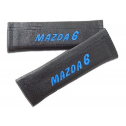 """2 X SEAT BELT HARNESS COVERS PADS LEATHER """"MAZDA 6"""" RED EMBROIDERY FOR MAZDA"""