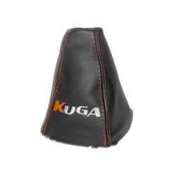 "FOR FORD KUGA 2008-2012 GEAR GAITER WITH PLASTIC FRAME LEATHER ""KIUGA"" ORANGE EMBROIDERY"
