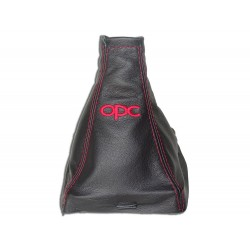 """FOR VAUXHALL OPEL VECTRA C 02-08 GEAR GAITER WITH PLASTIC FRAME LEATHER """"GTS"""" RED EMBROIDERY"""