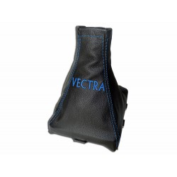 "FOR VAUXHALL OPEL VECTRA C 02-08 GEAR GAITER WITH PLASTIC FRAME LEATHER ""opc"" BLUE EMBROIDERY"