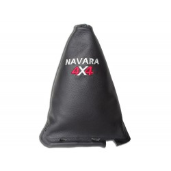 """FOR NISSAN NAVARA FL 2009-12 GEAR GAITER WITH FRAME 190MM LEATHER """"4X4"""" BLACK EMBROIDERY"""