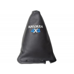 """FOR NISSAN NAVARA FL 2009-12 GEAR GAITER WITH FRAME 190MM LEATHER """"4X4"""" RED EMBROIDERY"""