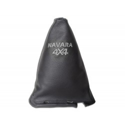 """FOR NISSAN NAVARA FL 2009-12 GEAR GAITER WITH FRAME 190MM LEATHER """"4X4"""" BLUE EMBROIDERY"""