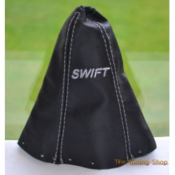 SUZUKI SWIFT 2005-2010 GEAR GAITER BLACK LEATHER EMBROIDERY GREY STITCHING