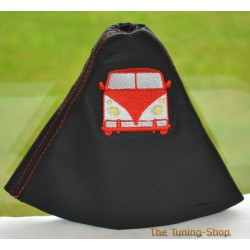 FORD FIESTA MK6 GEAR GAITER BLACK LEATHER EMBROIDERY CAR