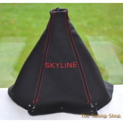 NISSAN SKYLINE 1993-1998 GEAR GAITER BLACK LEATHER RED STITCHING EMBROIDERY SKYLINE