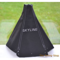 NISSAN SKYLINE 1993-1998 GEAR GAITER BLACK LEATHER WHITE STITCHING EMBROIDERY SKYLINE