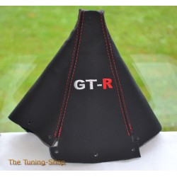 NISSAN SKYLINE 1993-1998 GEAR GAITER BLACK LEATHER RED STITCHING EMBROIDERY GT-R
