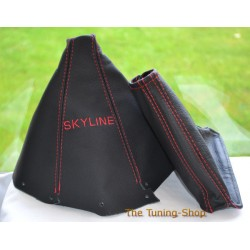 NISSAN SKYLINE 1993-1998 GEAR HANDBRAKE GAITER BLACK LEATHER RED STITCHING EMBROIDERY SKYLINE