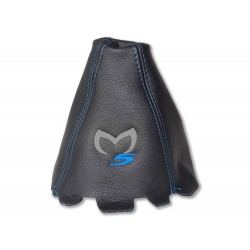 "FOR MAZDA 5 2011-2015 GEAR GAITER LEATHER ""M5"" BLUE EMBROIDERY"