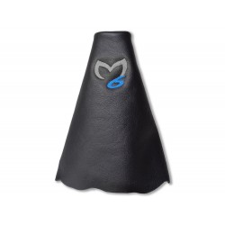 """FOR MAZDA 6 2008-2013 GEAR GAITER LEATHER """"M6"""" BLUE EMBROIDERY"""