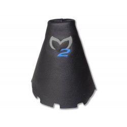 "FOR MAZDA 2 2007-09 GEAR GAITER LEATHER ""M2"" BLACK EMBROIDERY"