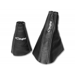 "FOR HYUNDAI COUPE TIBURON 1999-01 GEAR & HANDBRAKE GAITER LEATHER ""COUPE"" WHITE EMBROIDERY"