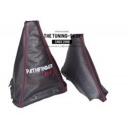 "FOR NISSAN NAVARA PATHFINDER  2006-2012  GEAR AND HANDBRAKE GAITER WITH PLASTIC FRAME ""NAVARA 4X4"" EMBROIDERY"