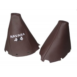 "FOR NISSAN NAVARA PATHFINDER  2006-2012  BROWN LEATHER GEAR HANDBRAKE GAITER WITH PLASTIC FRAME ""PATHFINDER 4X4"" EMBROIDERY"
