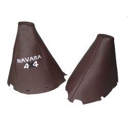 "FOR NISSAN NAVARA PATHFINDER 2006-2012 BROWN LEATHER GEAR HANDBRAKE GAITER WITH PLASTIC FRAME ""PATHFINDER 4X4"" EMBROIDERY"