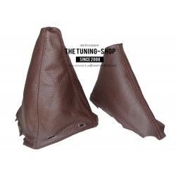 FOR NISSAN NAVARA PATHFINDER  2006-2012  GEAR HANDBRAKE GAITER WITH PLASTIC FRAME 190mm BROWN LEATHER