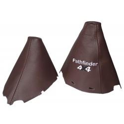 """FOR NISSAN NAVARA PATHFINDER 2006-2012 BROWN LEATHER GEAR HANDBRAKE GAITER WITH PLASTIC FRAME 210MM """"PATHFINDER 4X4"""" LOGO"""