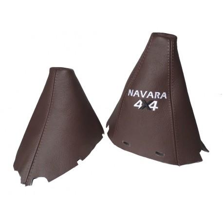 "FOR NISSAN NAVARA PATHFINDER 2009-2012 FL BROWN LEATHER GEAR HANDBRAKE GAITER WITH PLASTIC FRAME 190MM ""NAVARA 4X4"" LOGO"