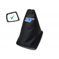 "FOR FORD FOCUS II FL 2008-2011 GEAR GAITER SILVER MAT CARBON PLASTIC FRAME LEATHER BLUE ""ST"" EMBROIDERY"