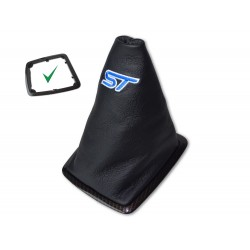 """FOR FORD FOCUS II FL 2008-2011 GEAR GAITER GOLD CARBON PLASTIC FRAME LEATHER BLUE """"ST"""" EMBROIDERY"""