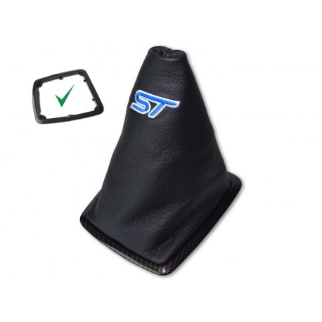 FOR FORD FOCUS II FL 2008-2011 GEAR GAITER GOLD CARBON PLASTIC FRAME LEATHER BLUE STITCHING