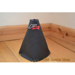 SEAT LEON FR MK2 05-2011 GEAR GAITER SHIFT BOOT BLACK LEATHER RED STITCH