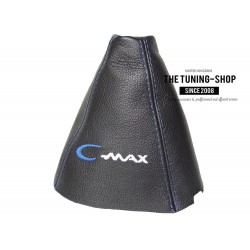 FOR  FORD FOCUS C-MAX 2007-2010 GEAR GAITER WITH PLASTIC FRAME BLACK LEATHER RED EMBROIDERY