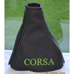 VAUXHALL CORSA B 1993-2000 GEAR GAITER BLACK LEATHER GREEN STITCHING EMBROIDERY