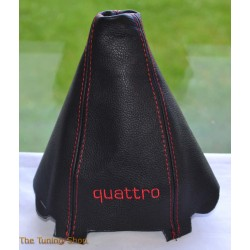 AUDI A4 2001-2004 GEAR GAITER BLACK LEATHER embroidery QUATTRO RED STITCHING