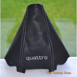 AUDI A4 2001-2004 GEAR GAITER BLACK LEATHER embroidery QUATTRO WHITE STITCHING