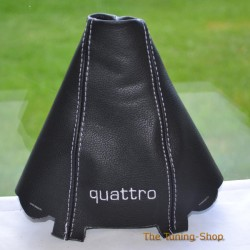 AUDI A4 2001-2004 GEAR GAITER BLACK LEATHER embroidery QUATTRO CREAM STITCHING